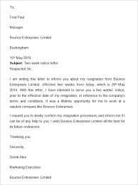 Letter Of Resignation Sample Two Weeks Notice Letter Resignation Week To Employer Sample
