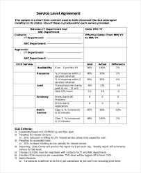Sample Service Level Agreement Form 10 Free Documents In Word Pdf