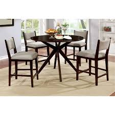 furniture of america xello 5 piece round counter height dining set