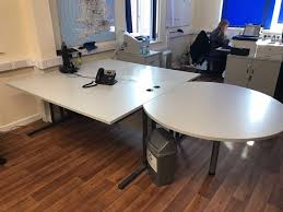 circular office desk. Grey Office Desk Made Up Of 2x Rectangle Desks + 1x Circular Desk. L265cm  XW160cm Circular