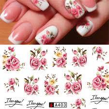 Акварельные прозрачные цветущие цветы, <b>наклейки для ногтей</b> ...