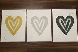 image is loading set mustard yellow grey silver love heart wall  on wall art love heart with set mustard yellow grey silver love heart wall art canvas post next