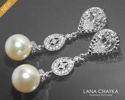 bridal pearl earrings wedding chandelier pearl cz earrings swarovski 10mm ivory pearl silver earring bridal jewelry bridesmaid pearl jewelry 33 50 usd