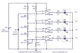 voltmeter circuit diagram and schematics for car battery voltmeter circuit diagram
