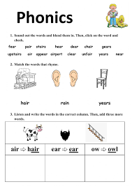 These worksheets help kids learn to use letters to make sounds and words. Ear And Air Worksheet