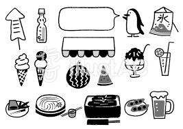 夏の食べ物やさんモノクロイラスト No 1494416無料イラストなら
