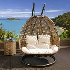 image of outdoor rattan hanging chair