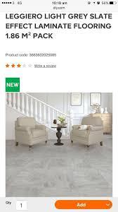 5 packs of leggiero grey slate effect laminate flooring