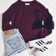 adidas outfits. cute outfit. layout my adidas. high waited shorts burgundy sweater summer adidas outfits