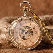 discount mechanical wind up pocket watches 2017 mechanical wind classic open face full gold mechanical hand winding pocket watch chain fob pendant vine wind up fashion men women gift