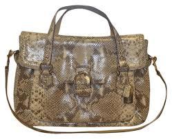 coach genuine leather nickel hardware short long strap embossed print satchel in python tan