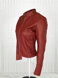 stylish women maroon color leather jacket
