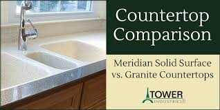countertop comparison meridian solid surface vs granite countertops