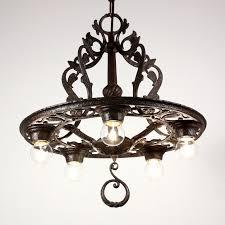sold striking antique tudor five light cast iron chandelier c 1920 s