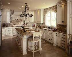 awesome antique white rustic kitchen cabinets with ceramic backsplash and black chandelier plus high bar stools on tile flooring