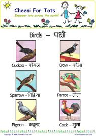 Animal Names In Hindi Animals And Sounds Birdchart Printout