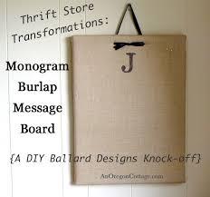 monogram burlap message board a diy ballard designs knock off