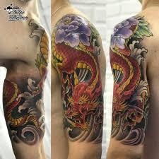 тату япония дракон на плече тату ориентал дракон с цветами на руке