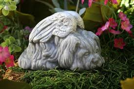 shih tzu dog angel statue from