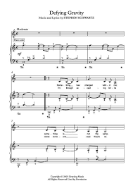 defying gravity sheet music defying gravity for piano solo or piano and voice by stephen