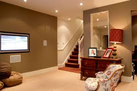 ... Simple And Neat Ideas For Finished Basement Decoration Design :  Inspiring Basement Design Ideas Using Wooden ...