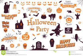 Set Of Halloween Labels And Elements Illustration Template Stock