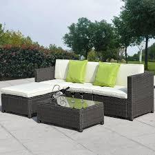 5PC Outdoor Patio Sofa Set Sectional Furniture PE Wicker Rattan Outdoor Patio Furniture Sectionals