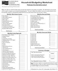 Household Budget Form Sample Budget Form