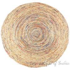 orange round colorful woven bohemian jute chindi braided area decorative rag rug 4 ft