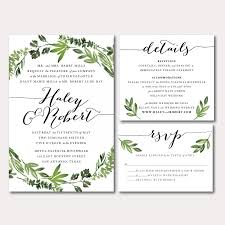 Printable Wedding Invitation Printable Wedding Invitation Suite Botanical Wreath Watercolor