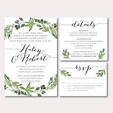 printable wedding invitation suite botanical wreath watercolor botanicals leaves herbs
