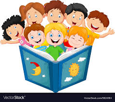 cartoon little kid reading book vector image