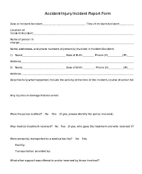 Accident Injury Report Form Template Incident Investigation