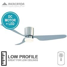 city ceiling fan dc with led light and remote low profile brushed chrome