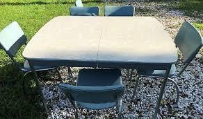 blue retro howell kitchen dining table 6 blue chairs chrome vinyl vine 50 s