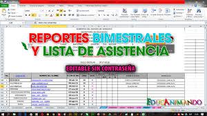 Formato En Excel Reportes Bimestrales Y Lista De Asistencia