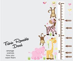 Details About Safari Animals With Growth Chart Decal Girl Room Art Height Chart Wall Sticker