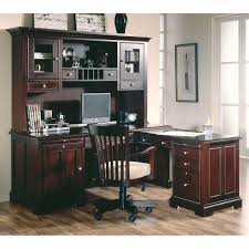 l shaped desk with hutch and drawers plus chair and computer set on an home office