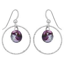diamond cut hoops earrings mystic purple