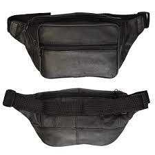 alltopbargains black leather pack waist bag adjustable travel pouch mens womens hip purse com