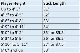 Field Hockey Stick Size Chart Hit The Net Sports