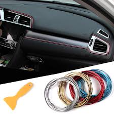 details about 5m car interior molding trim insert decor strip line gap chrome filler 16ft kit