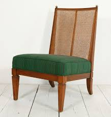 1stdibs pair of cane slipper chairs in green african fabric