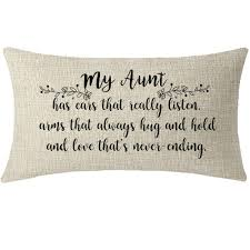 Itfro Great Aunt Gift From Niece Nephew With Funny Quote Sayings Lumbar Waist Beige Cotton Linen Throw Pillow Case Cushion Cover Couch Sofa Decorative