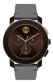 movado bold brown chronograph dial grey leather men s watch 3600445 watchma com