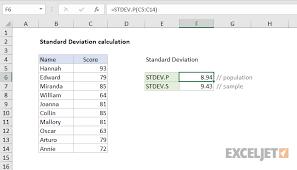 Excel Formula Standard Deviation Calculation Exceljet