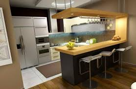View in gallery Contemporary wooden kitchen bar design