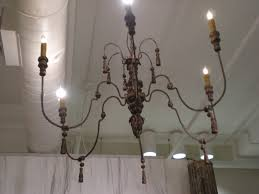 metal and wood chandelier. French Metal And Wood Chandelier For Sale W