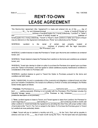 What documents are required for rental agreement? Rent To Own Agreement Create A Free Lease To Own Lease Agreement