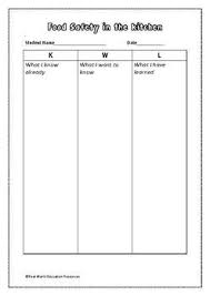 Knowledge Chart Food Safety Kwl Knowledge Chart For Facs And Food Studies